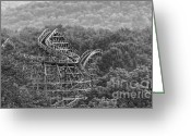 Birds Eye View Greeting Cards - Knobels Wooden Roller Coaster Black and White Greeting Card by Paul Ward