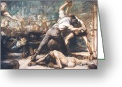 Fighters Painting Greeting Cards - Knockout Greeting Card by Pg Reproductions