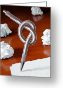 Recycling Photo Greeting Cards - Knot on Pen Greeting Card by Carlos Caetano