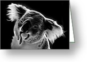 Koala Pop Art Digital Art Greeting Cards - Koala Pop Art - Greyscale Greeting Card by James Ahn