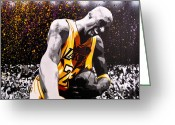 Stencil Greeting Cards - Kobe Greeting Card by Bobby Zeik