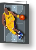 Male Athletes Greeting Cards - Kobe Bryant 24 Greeting Card by Walter Neal