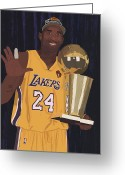 Nba Greeting Cards - Kobe Bryant Five Championships Greeting Card by Tomas Raul Calvo Sanchez