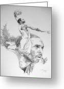 All Star Drawings Greeting Cards - Kobe Greeting Card by Otis  Cobb