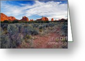 Sandstone Bluffs Greeting Cards - Kodachrome Last Light Greeting Card by Mike  Dawson