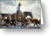 Cowboy Hat Photo Greeting Cards - Koerner: Cowboy, 1920 Greeting Card by Granger