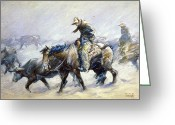 Cattle Greeting Cards - Koerner: Hard Winter, 1932 Greeting Card by Granger