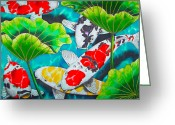 Lotus Tapestries - Textiles Greeting Cards - Koi and Lotus Greeting Card by Daniel Jean-Baptiste