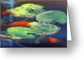 Lilly Pad Painting Greeting Cards - Koi at Play Greeting Card by Sally Seago