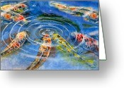Great Painting Greeting Cards - Koi Endurance Greeting Card by John Yato