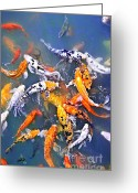 Feeding Greeting Cards - Koi fish in pond Greeting Card by Elena Elisseeva