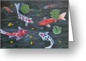 Fish Pond Painting Greeting Cards - Koi Fishes original acrylic painting Greeting Card by Georgeta  Blanaru