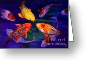 Fish Pond Painting Greeting Cards - Koi Friends Greeting Card by Robert Hooper