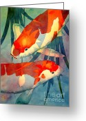 Japanese Greeting Cards - Koi Love Greeting Card by Robert Hooper
