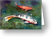 Tropical Island Greeting Cards - Koi Greeting Card by Marionette Taboniar