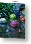 Conservatory Photo Greeting Cards - Koi Pond Fantasy Greeting Card by Richard Mansfield