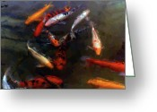 Happy Texas Artist Greeting Cards - Koi Pond Watercolor Greeting Card by Fred Jinkins