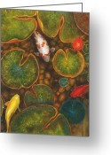 Lilly Pads Greeting Cards - Koi Greeting Card by Stephen Schubert