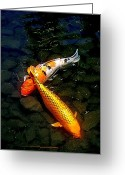 Fish Pond Painting Greeting Cards - Koi Story Two C Greeting Card by Randall Weidner