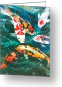 Fish Pond Painting Greeting Cards - Koi V Greeting Card by Patricia Allingham Carlson