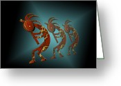 Native Digital Art Greeting Cards - Kokopelli Greeting Card by Carol and Mike Werner