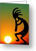 Native Greeting Cards - Kokopelli Greeting Card by Mitch Cat