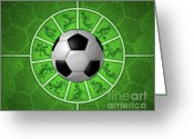 Kick Digital Art Greeting Cards - Kokopelli Soccer Greeting Card by Chris Rhynas