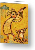 Native American Greeting Cards - Kokopelli with Musical Dog Greeting Card by Carol Suzanne Niebuhr