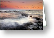 Tides Greeting Cards - Koloa Dusk Greeting Card by Mike  Dawson
