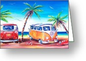Beaches Greeting Cards - Kombi Club Greeting Card by Deb Broughton