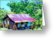 Hanalei Beach Greeting Cards - Kona Coffee Shack Greeting Card by Dominic Piperata