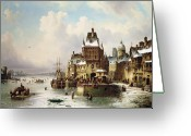 Canals Painting Greeting Cards - Konigsberg Greeting Card by Ludwig Hermann