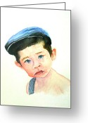 Overalls Greeting Cards - Kooper Greeting Card by Jeanne Grant