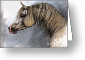 Equine Watercolor Portrait Greeting Cards - Kordelas Greeting Card by Angel  Tarantella