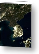 21st Greeting Cards - Korean Peninsula Greeting Card by Planet Observer and SPL and Photo Researchers