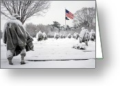 Washington D.c. Tapestries Textiles Greeting Cards - Korean War Memorial Greeting Card by Granger