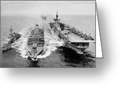Warship Greeting Cards - Korean War: Ship Refueling Greeting Card by Granger