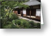 Shoji Screen Greeting Cards - KOTO-IN ZEN TEA HOUSE and GARDEN - KYOTO JAPAN Greeting Card by Daniel Hagerman