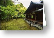 Shoji Screen Greeting Cards - KOTO-IN ZEN TEMPLE MAPLE and MOSS GARDEN - KYOTO JAPAN Greeting Card by Daniel Hagerman