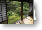 Shoji Screen Greeting Cards - Koto-in Zen Temple Side Garden - Kyoto Japan Greeting Card by Daniel Hagerman