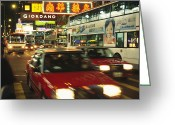 Time Exposures Greeting Cards - Kowloon Street Scene At Night With Neon Greeting Card by Justin Guariglia