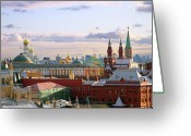Old Cities Greeting Cards - Kremlin, Moscow, Russia Greeting Card by Lars Ruecker