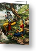 India Greeting Cards - Krishna with Radha Greeting Card by Vrindavan Das