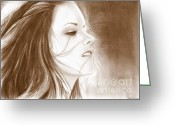 Dawn Drawings Greeting Cards - Kristen Stewart - sepia Greeting Card by Crystal Rosene