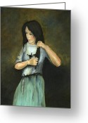 Young Lady Greeting Cards - Kristina at 18 Greeting Card by Cecilia  Brendel