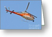 Reporting Greeting Cards - KTLA5 News Helicopter Greeting Card by Kenny Bosak