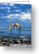 Islands Digital Art Greeting Cards - Ku emanu Heiau Kona Greeting Card by Kurt Van Wagner