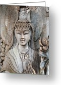 Wood Pyrography Greeting Cards - Kuan Yin  Greeting Card by Apatsara Sirirodchanapanya