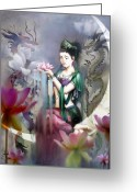 Watercolor Greeting Cards - Kuan Yin Lotus of Healing Greeting Card by Stephen Lucas