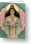 Mystical Greeting Cards - Kuan Yin Pink Lotus Heart Greeting Card by Sue Halstenberg
